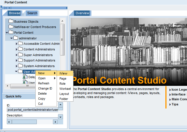 Portal - Create iView