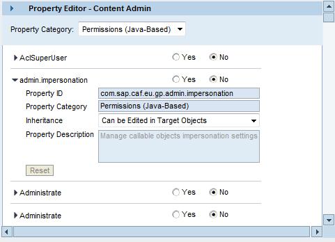 Portal Role - Content Admin - Permissions