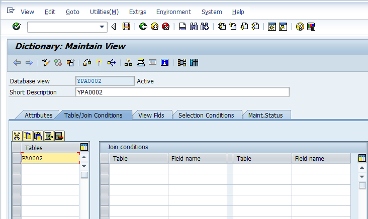 Create Database View for PA0002 table