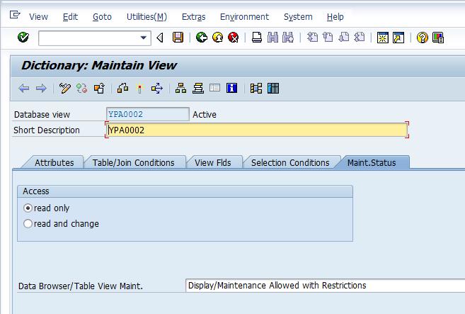 Database View - Maintenance Status