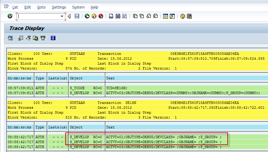 SE16N Security Trace for S_DEVELOP