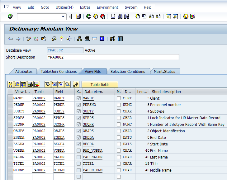 Select Database View Fields