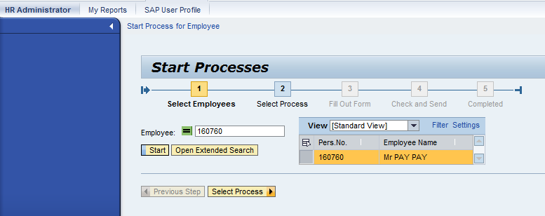 Select an Employee for a Process