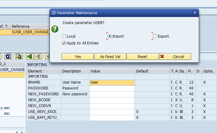 SECATT - Create Import Parameter